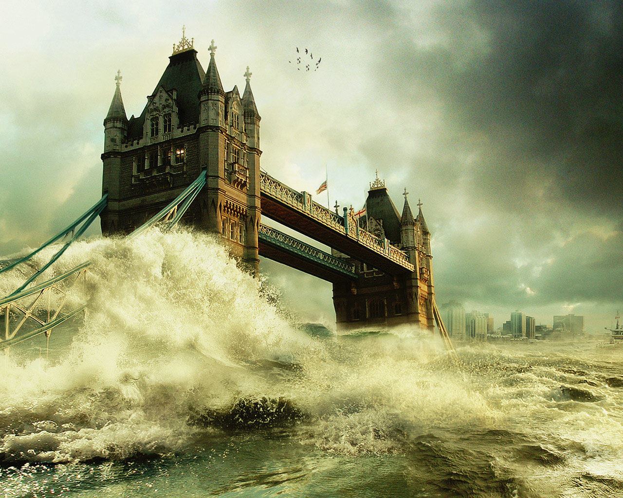 flood waves over london bridge